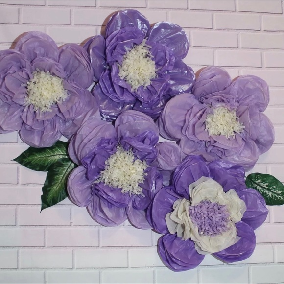 Baby Shower Decor Tissue Paper Flowers Set Of 5